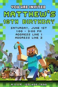 Details about MINECRAFT Birthday Invitation