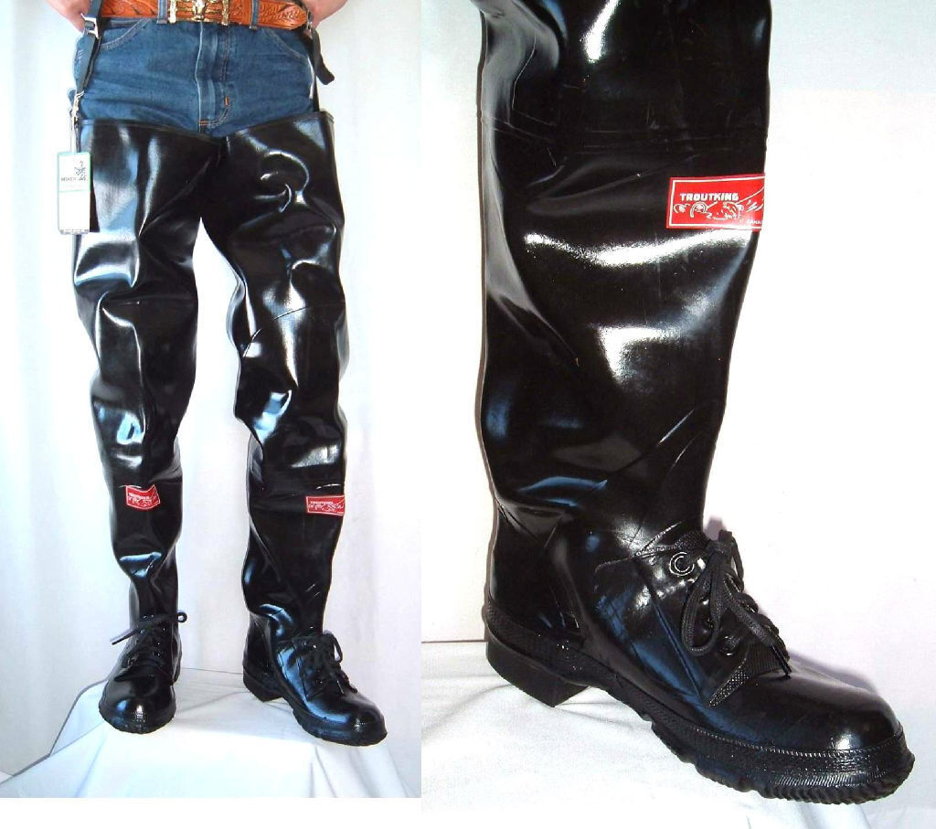 Miner troutking vtg black rubber hip boots waders 7 nos for Fishing waders with boots