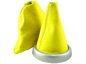 MINI-COOPER-BMW-GEAR-HANDBRAKE-GAITER-YELLOW-LEATHER