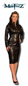 Black Pencil Dress on Misfitz Black Leather Look Pencil Mistress Dress 2 Way Zip