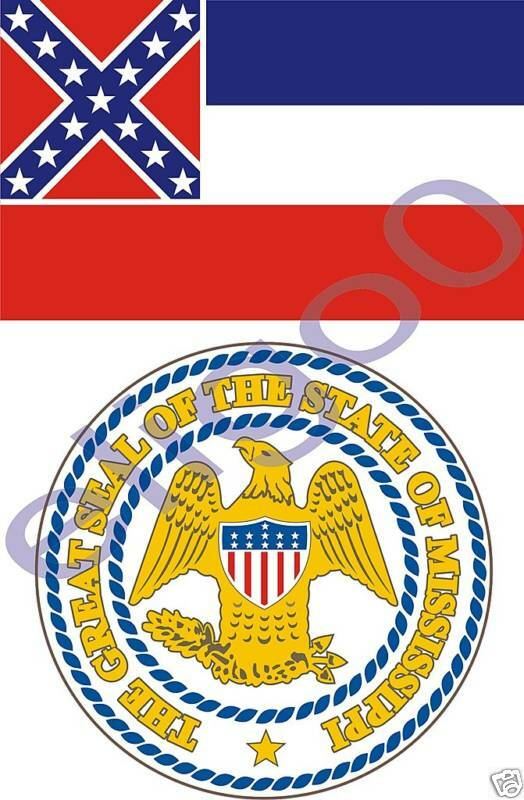 Mississippi State Flag Seal Bumper Stickers Decal USA