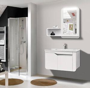 Mobile bagno arredo bagno completo pensile 80cm bianco lavabo specchio rubinetto ebay - Pensile specchio bagno ...