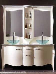 Mobile bagno con lavabo e specchio legno massello bombato vari colori ebay - Mobile bombato bagno ...