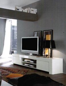 Mobile porta tv basso laccato bianco moderno salotto ebay - Mobile basso moderno ...
