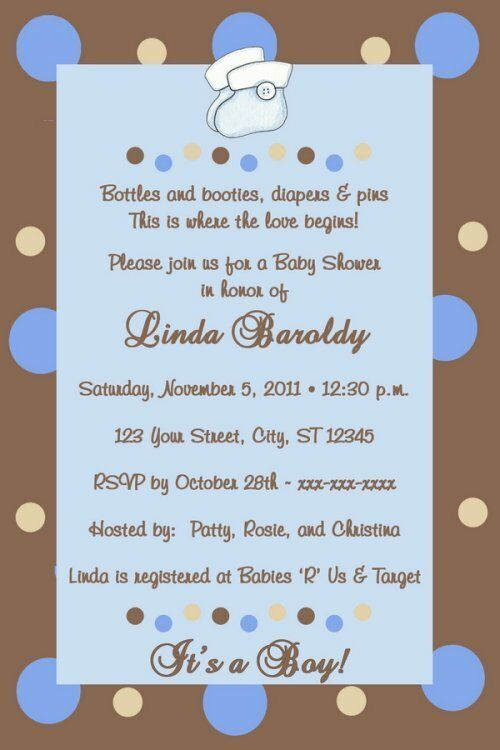 MOD/MODERN CHOCOLATE AND BLUE POLKA DOTS PERSONALIZED BABY SHOWER