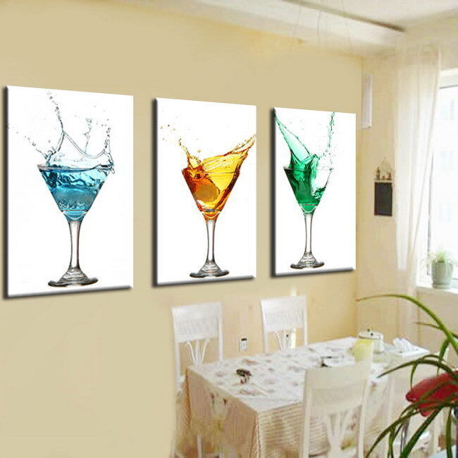 Modern Abstract Wall Art Oil Painting on Canvas Wine Glass No Fram WTYW2