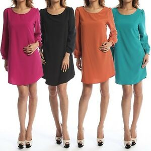 Long Sleeve Dress on Mogan Long Sleeve Shift Dress Sleek Boat Neck Stretch Soft Silky Long