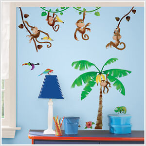 MONKEY 41 BiG Wall Stickers Nursery Room Decor Decals PALM TREE Vines Monkies in Home & Garden, Home Decor, Decals, Stickers & Vinyl Art | eBay