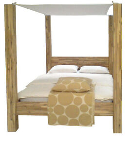 mp10 himmelbett massivholzbett akazie bett holz massivholz baldachin 160x200 ebay. Black Bedroom Furniture Sets. Home Design Ideas