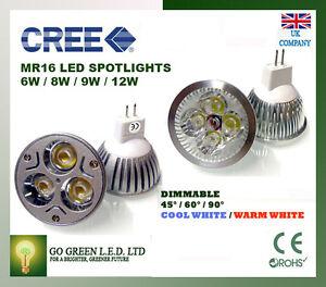 mr16 gu5 3 6w 8w 9w dimmbar cree led strahler licht lampe. Black Bedroom Furniture Sets. Home Design Ideas