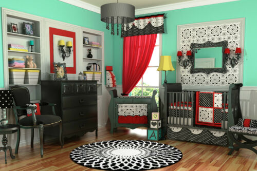 MUST SEE! RED 10PC BLACK & WHITE CRIB NURSERY BEDDING SET in Baby, Nursery Bedding, Crib Bedding | eBay