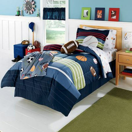 Kids Bedding MVP Sports Boys Baseball, Basketball, Football Full Comforter Set (7 Piece Bed In A Bag) at Sears.com