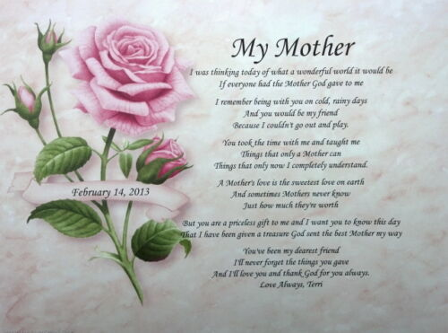 MY MOTHER PERSONALIZED POEM FOR BIRTHDAY OR MOTHER'S DAY GIFT IDEA FOR MOM in Specialty Services, Printing & Personalization, Other | eBay