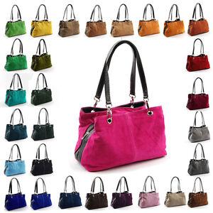 Made-in-Italy-Wildleder-Handtasche-Damentasche-Leder-Tasche-LTA049AA0