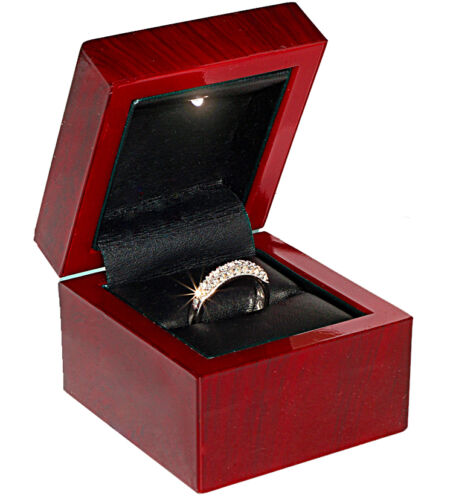 Mahogany Cherry Gift Ring Box With Light (Plastic Material) in Jewelry & Watches, Jewelry Boxes & Organizers, Jewelry Boxes | eBay