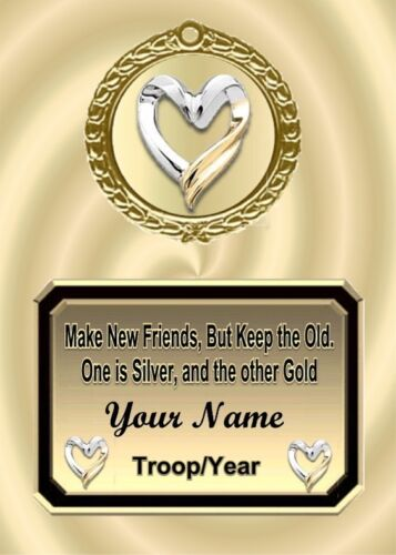 Make New Friends Gold Silver Heart Personalized Award Plaque Gift Scouts Girl in Specialty Services, Printing & Personalization, Other | eBay
