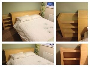 Malm kingsize bed frame and headboard storage unit ebay for Headboard storage unit