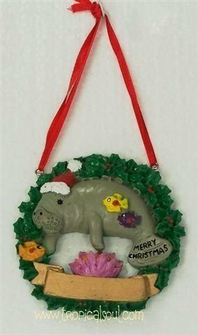 Manatee Xmas Ornament Tropical Christmas Wreath Santa Hat Personalized