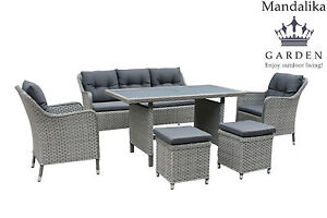 mandalika polyrattan lounge set davos sitzgruppe gartenm bel garnitur alu grau. Black Bedroom Furniture Sets. Home Design Ideas