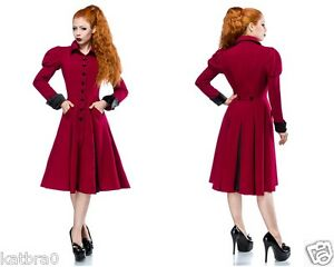 mantel rockabilly jacke m ntel damenmode 50er jahre style rot damenmantel edel ebay. Black Bedroom Furniture Sets. Home Design Ideas