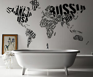 map fo the world with words giant wall art sticker vinyl. Black Bedroom Furniture Sets. Home Design Ideas