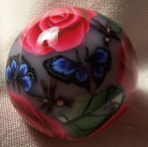 Marbles/Marble Pat Wilson Art Marble, RED ROSES BLUE BUTTERFLIES DRAGONFLIES in Toys & Hobbies, Marbles, 1970-Now   eBay