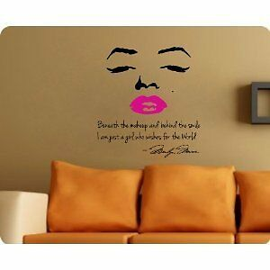 "Marilyn Monroe Wall Decal Decor Quote Face Red/Pink Lips 24""*24"" Nice Sticker in Baby, Nursery Decor, Wall Decor 