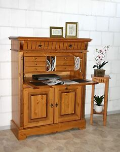massivholz sekret r pc laptop computer schrank holz kiefer massiv honig wei ebay. Black Bedroom Furniture Sets. Home Design Ideas