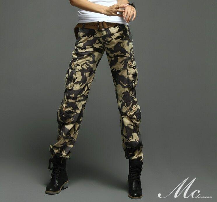 Matchic womens cargo pants trousers grey Camou S XXL