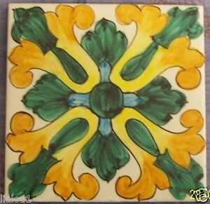 Mattonella piastrella 10x10 in ceramica vietri tile for Piastrelle maiolica cucina