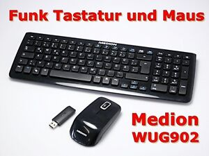 medion kg 0902 funktastatur und maus schwarz qwertz deutsche tastatur b ware ebay. Black Bedroom Furniture Sets. Home Design Ideas