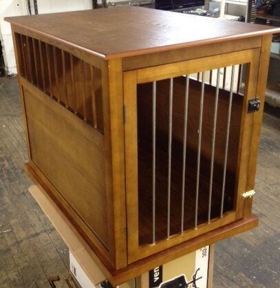 details about medium wood pet crate end table oak finish 26 x 18