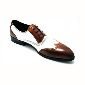 genuine two tone oxford leather wingtip formal dress