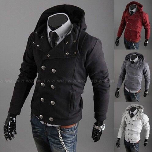 Men's Stylish Casual Jackets double Pea Coats Hoodie XS S M Outerwear 4 Colors 70