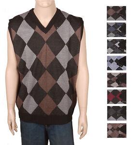 Mens Argyle Vneck Knit Sleeveless Sweater Vest NWT Black ...