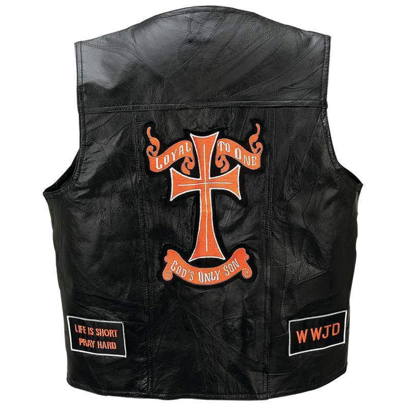Mens Black Leather Motorcycle Vest Christian Patches