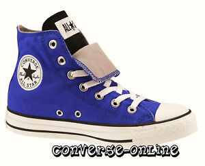 Mens-CONVERSE-All-Star-BLUE-BLACK-WHITE-DOUBLE-TONGUE-HI-TOP-Trainers-UK-SIZE-10