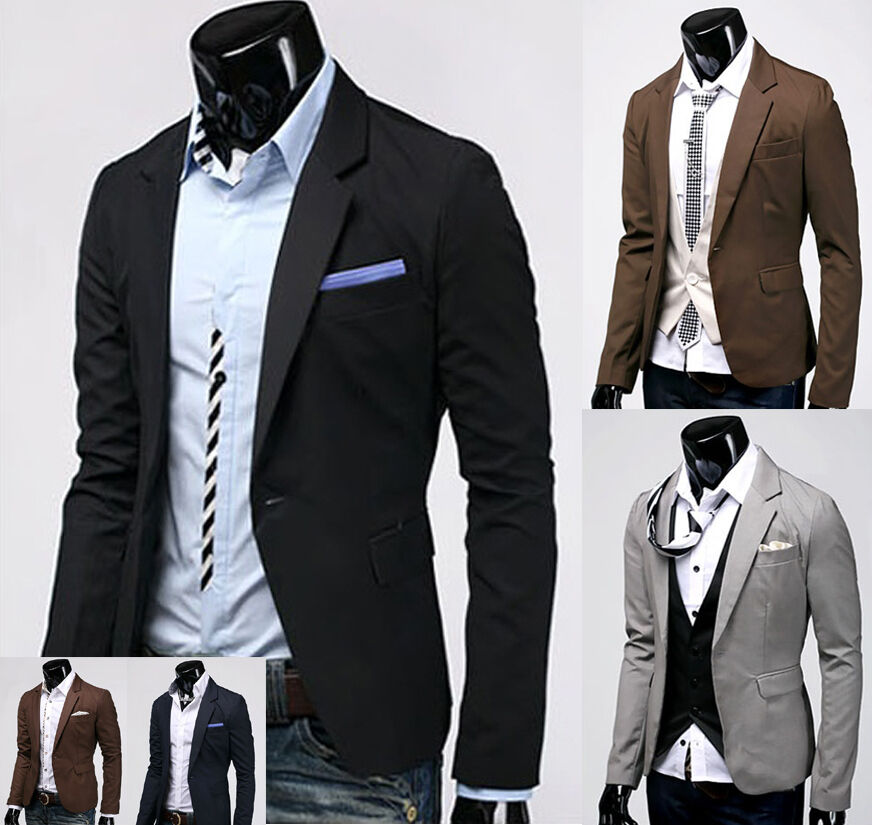 Mens Casual & Dress Slim Fit One Button Blazer Jackets Coats (US Size