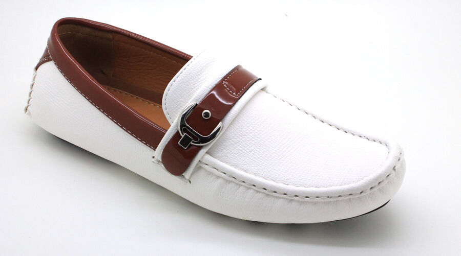 s casual leather moccasins loafer buckle slip on