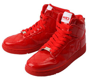 mens casual red shiny high top sneakers athletic shoes on