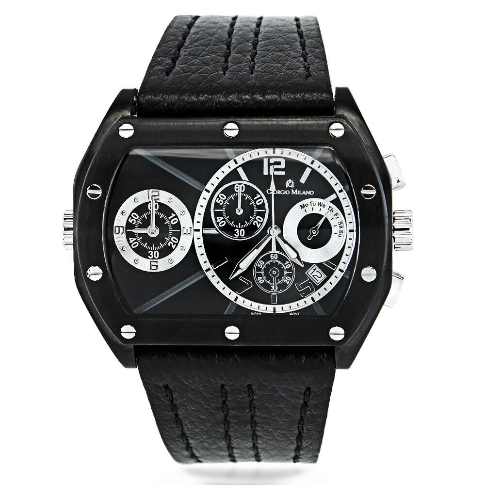Mens chronograph watch in black pvd by giorgio milano ebay for Giorgio iv milano