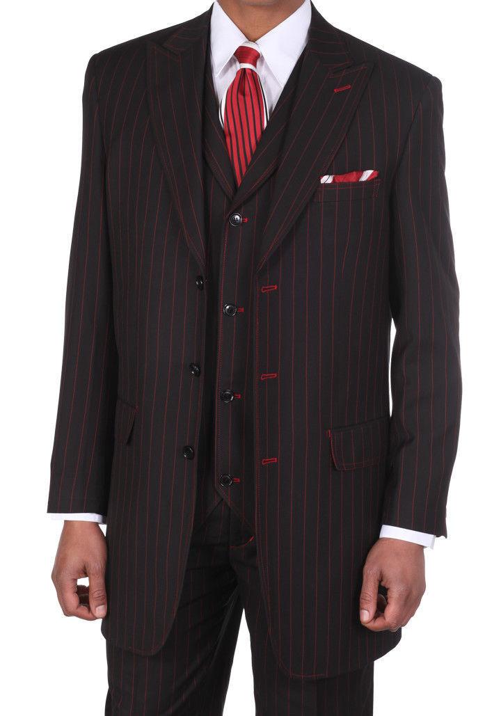 Men S Classic Black W Red Pinstripe Suits W Vest
