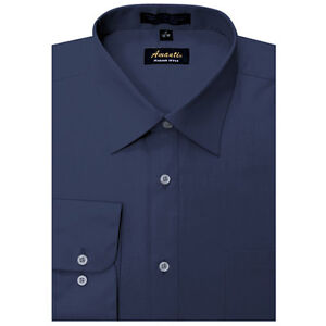 Navy Blue Dress Shoes on Mens Dress Shirt Plain Navy Blue Modern Fit Wrinkle Free Cotton Blend