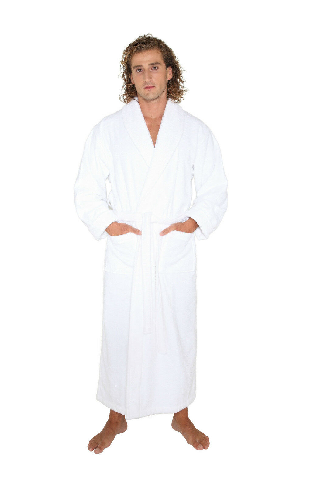 turkish bathrobe cotton terry full length long spa robe warm and thick ebay. Black Bedroom Furniture Sets. Home Design Ideas