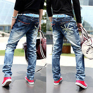 Mens Heavy Washed Flag Design Jeans 28 30 32 34 36 38