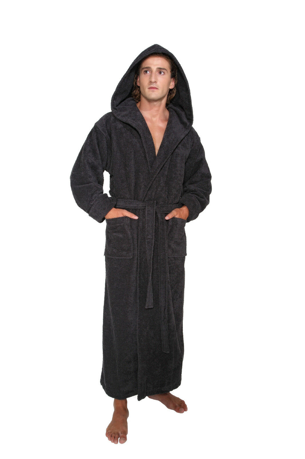 hooded bathrobe mens turkish cotton terry spa robe with hood ebay. Black Bedroom Furniture Sets. Home Design Ideas
