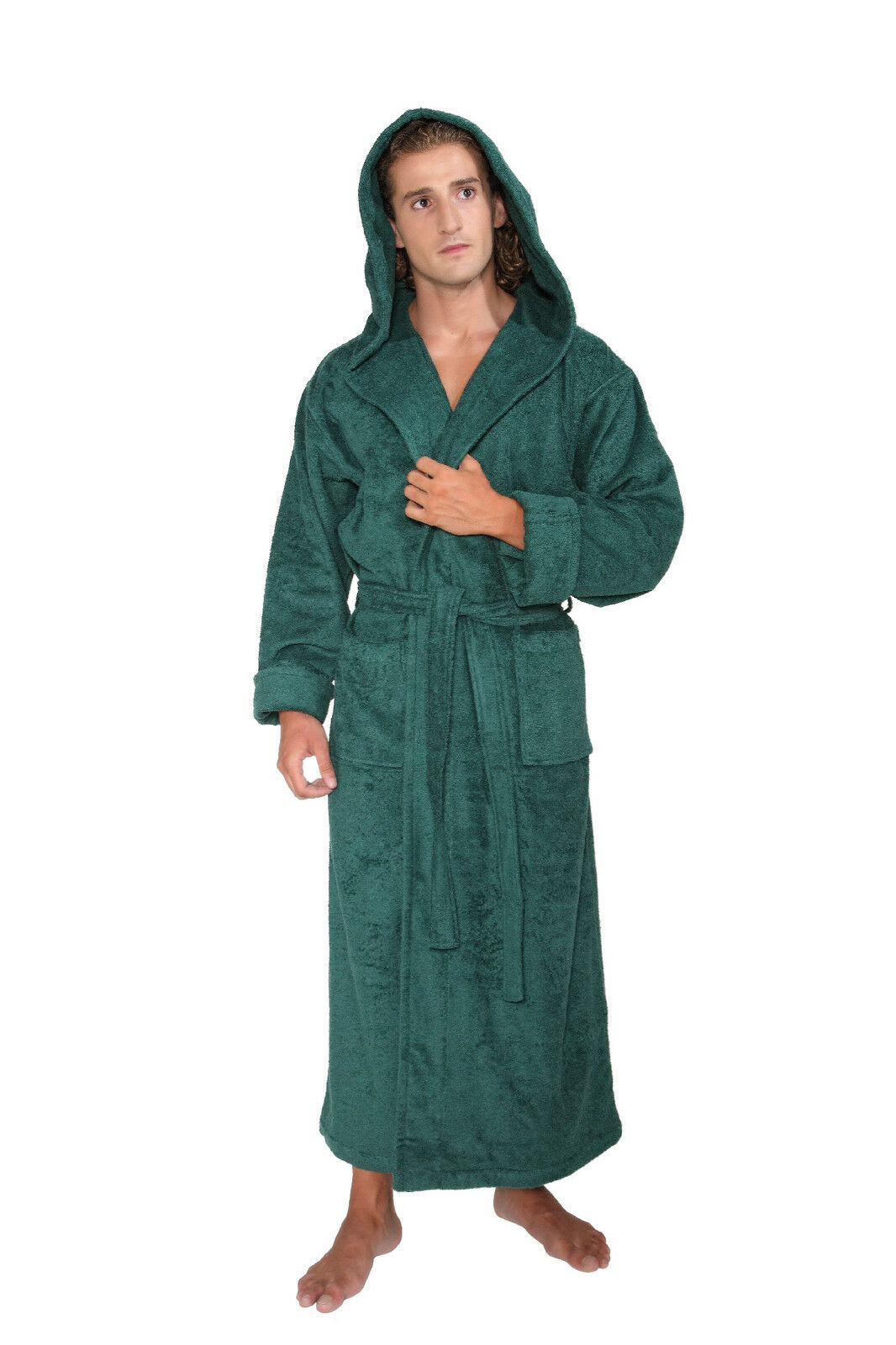 Hooded Bathrobe Mens Turkish Cotton Terry Spa Robe With ...