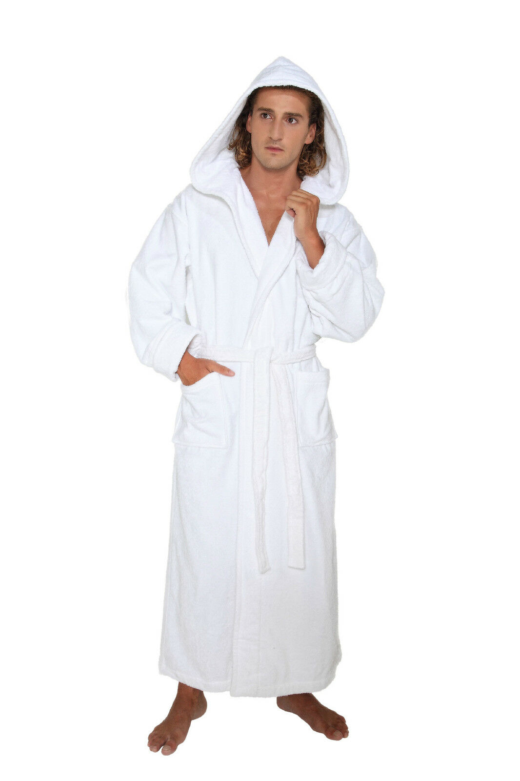 hooded bathrobe mens turkish cotton terry spa robe with hood. Black Bedroom Furniture Sets. Home Design Ideas