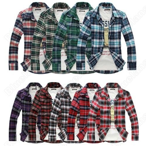 Mens Luxury Style Casual Dress Slim Fit Long Sleeve Check Plaid Red