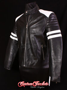 Men's 'MAYHEM' Black FIGHT CLUB Motorcycle Style Film CAFE RACER Leather Jacket